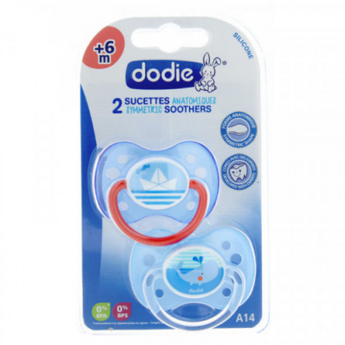 Dodie 2 Sucettes Anatomiques Silicone 6 Mois et + A14 Marin