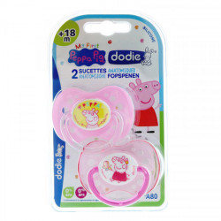 Dodie sucette anatomique silicone +18 mois Peppa Pig fille