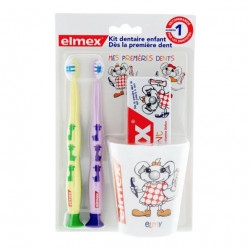 Elmex Kit Dentaire Enfants 2 Brosses à Dents + 1 Dentifrice + 1 Gobelet